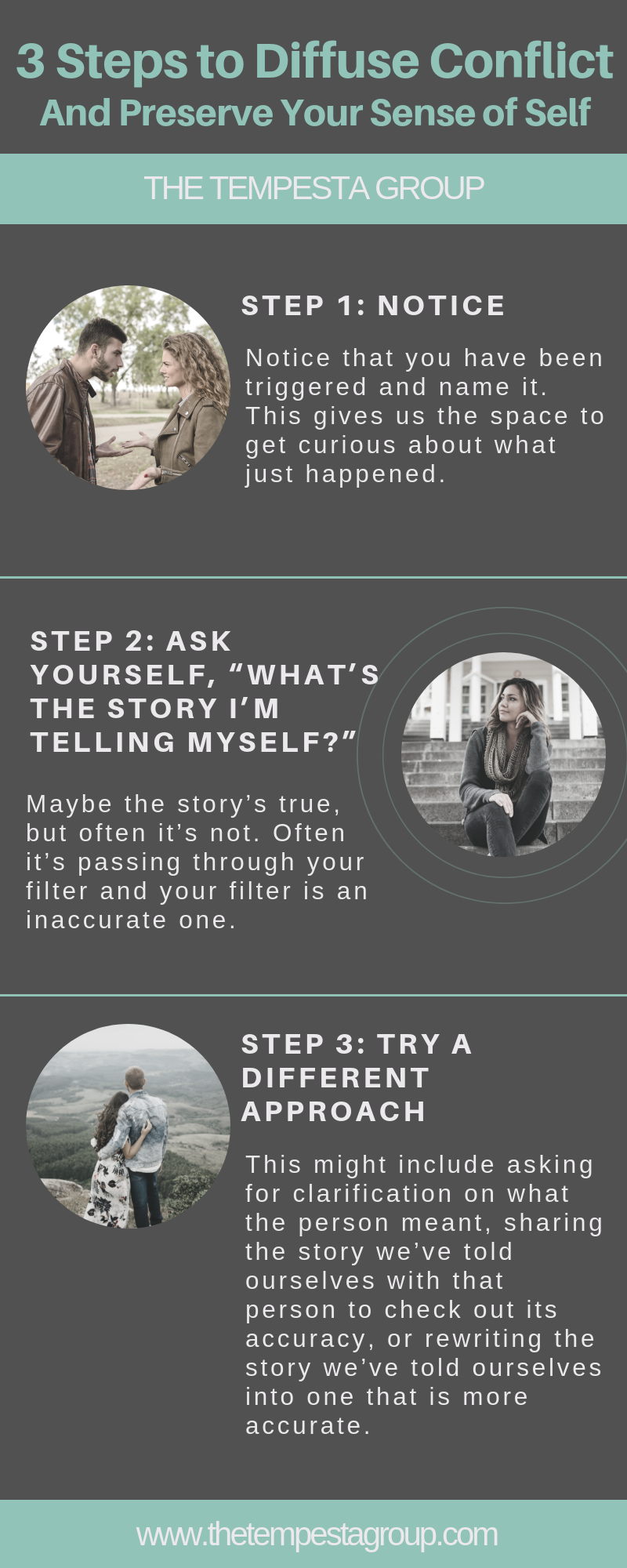 3 Steps to Diffuse Conflict Infographic